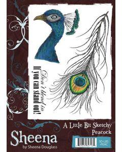 Sheena Douglass A Little Bit Sketchy A6 Rubber Stamp Set - Peacock