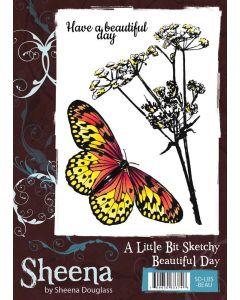 Sheena Douglass - A Little Bit Sketchy A6 Rubber Stamp Set - Beautiful Day