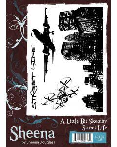 Sheena Douglass A Little Bit Sketchy A6 Rubber Stamp Set - Street Life