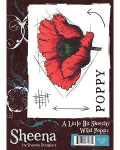 Sheena Douglass A Little Bit Sketchy A6 Rubber Stamp Set - Wild Poppy