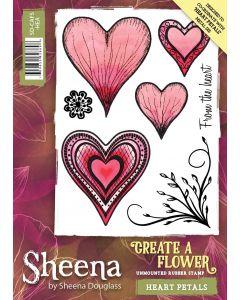Sheena Douglass Perfect Partners Create a Flower Rubber Stamp - Heart Petals