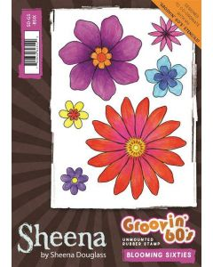 Sheena Douglass Groovin' 60's A6 Rubber Rubber Stamp - Blooming Sixties