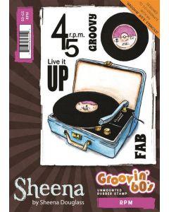 Sheena Douglass Groovin' 60's A6 Rubber Rubber Stamp - RPM