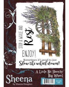 Sheena Douglass A Little Bit Sketchy A6 Rubber Stamp Set - Big Wheel