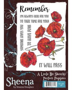 Sheena Douglass A Little Bit Sketchy A6 Rubber Stamp Set - Perfect Poppies