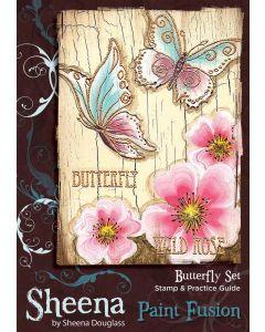 Sheena Douglass Paint Fusion A6 Rubber Stamp Set - Butterfly