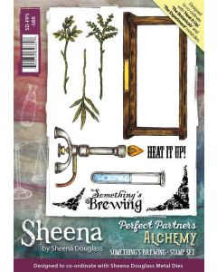 Sheena Douglass Perfect Partner Alchemy A5 Rubber Stamp Set - Something's Brewing