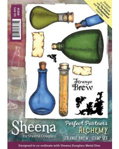 Sheena Douglass Perfect Partners Alchemy A5 Rubber Stamp Set - Strange Brew