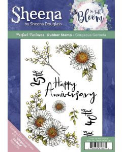 Sheena Douglass Perfect Partners In Full Bloom A5 Rubber Stamp - Gorgeous Gerbera
