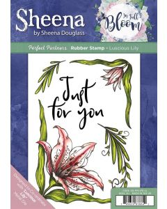 Sheena Douglass Perfect Partners In Full Bloom A5 Rubber Stamp - Luscious Lily