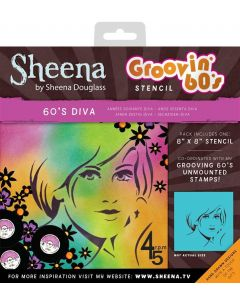 "Sheena Douglass Groovin' 60's 8"" x 8"" Stencil - 60's Diva"