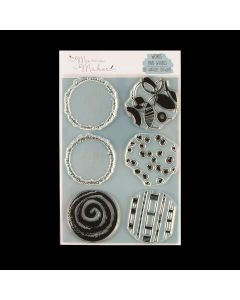 Mama Makes Textured Circle Collection A5 Photopolymer Stamp - Words and Whirls
