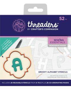 Threaders Monogram Maker Alphabet Templates - Groovy