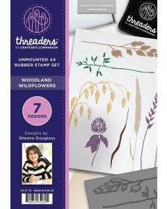 Threaders A5 Rubber Stamp - Woodland Wildflowers