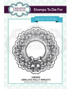 Creative Expressions Pre Cut Stamp - Amelia's Holly Wreath
