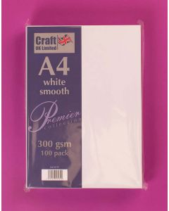 Craft UK A4 Smooth Card 100 sheets - White