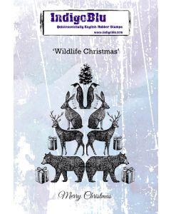 Indigoblu Wildlife Christmas A6 Red Rubber Stamp