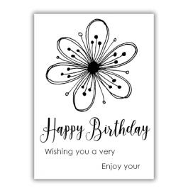 Julie Hickey Essential Sentiments A7 Stamp - Happy Birthday