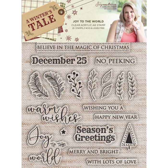 Sara Signature A Winter's Tale A6 Clear Acrylic Stamp - Joy to the World