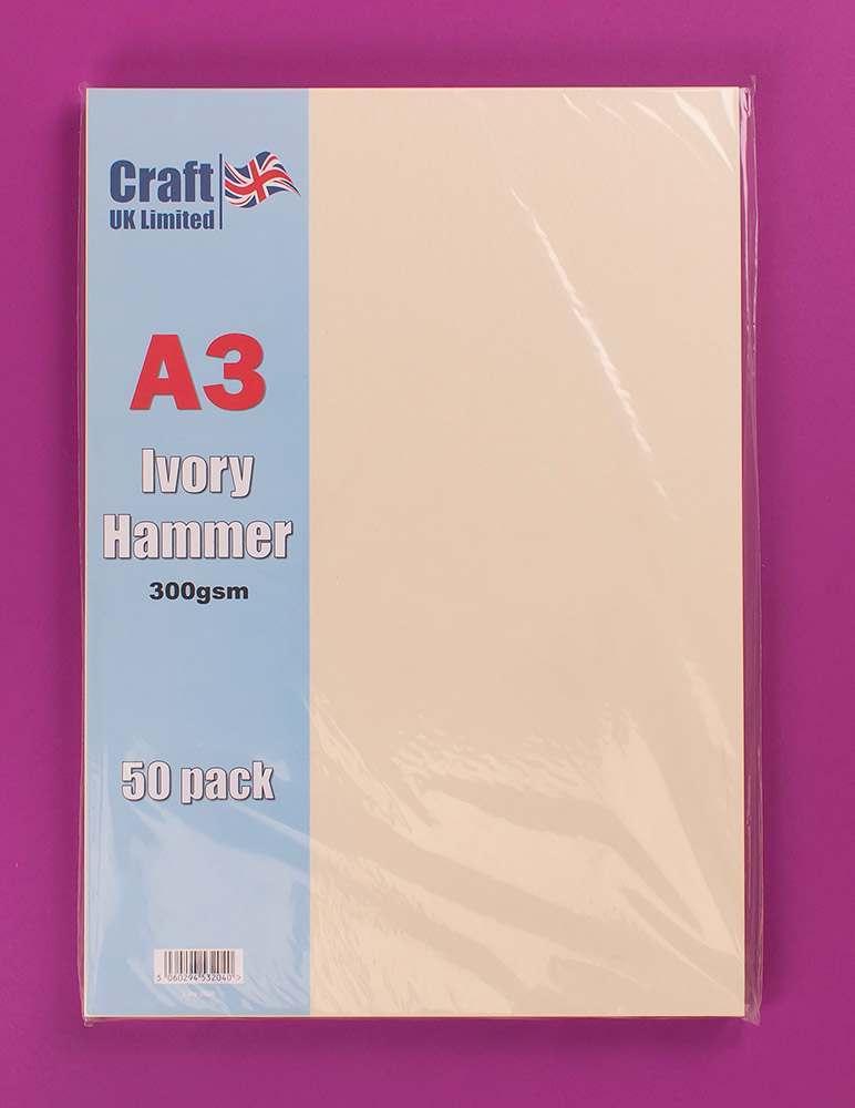 Arts & Crafts Craft UK 50 A3 Hammered Card - Ivory