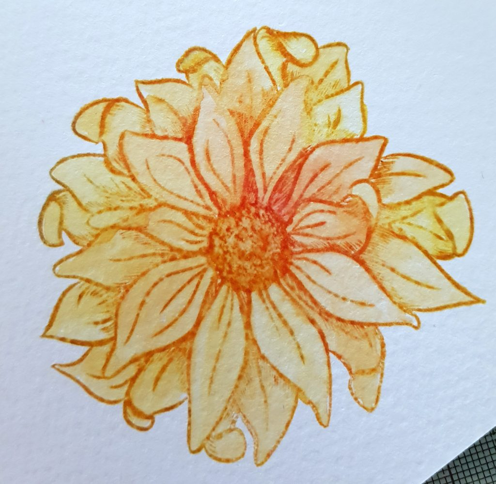 A yellow and orange flower that has been stamped and coloured using the Spectrum Noir Water-Reactive Inkpads