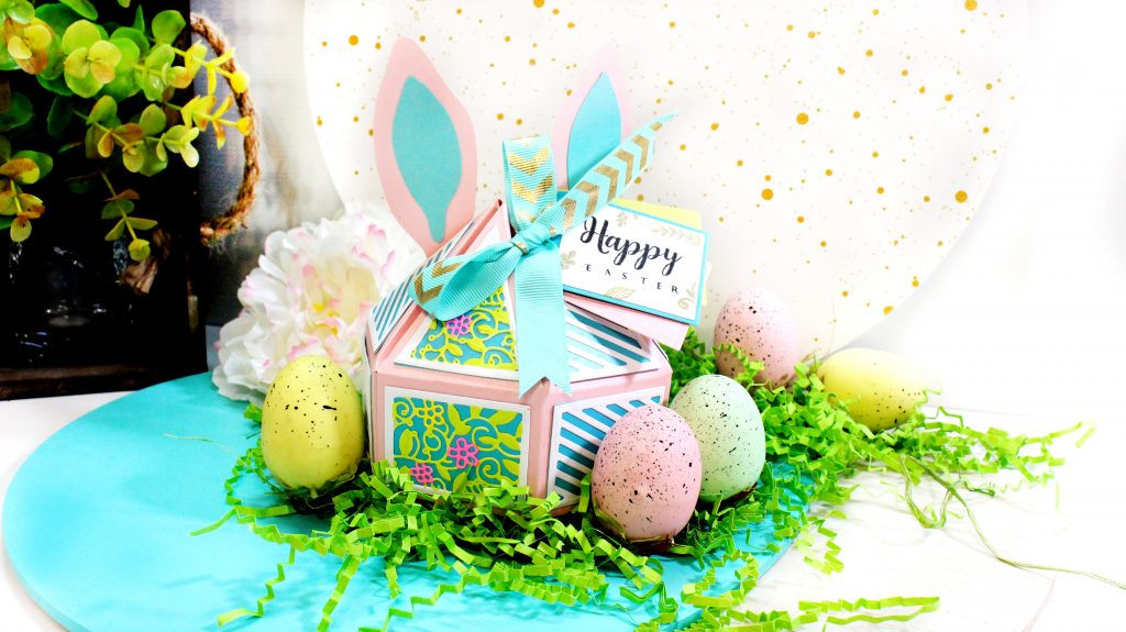 An Easter-themed gift box using the Sara Signature Sew Homemade Decadent Gift Box Dies from Crafter's Companion