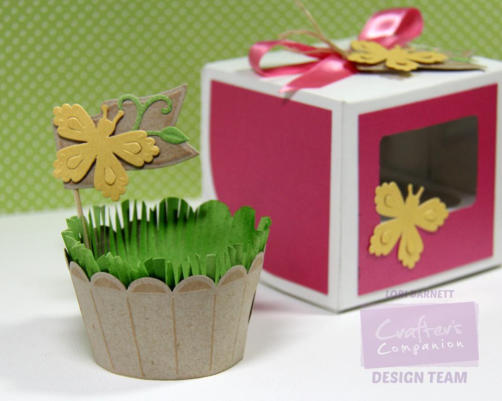Spring Cupcake Box Wrapper and Pick Lori Barnett Watermarked